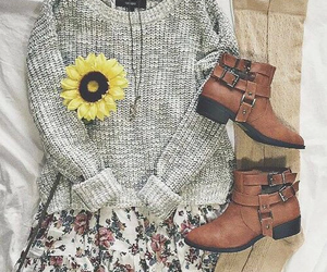 boots, flower, and skirt image