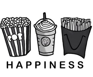 food, happiness, and popcorn image