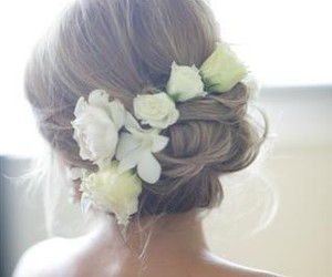 flowers, hairstyle, and wedding image