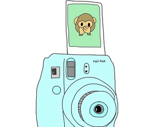 emoji, monkey, and polaroid image