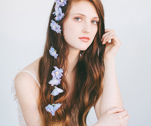 floral hair, flower crown, and hair image