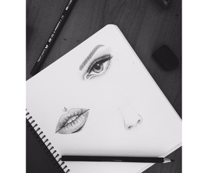 black and white, eyes, and lips image