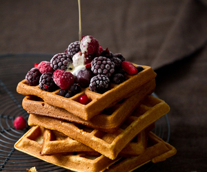 food, waffles, and sweet image