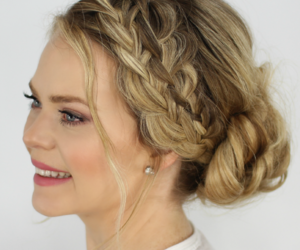 hairstyle, updo, and braid updo image