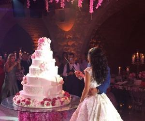 wedding, dress, and cake image