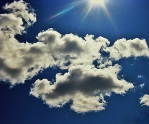 blue, sunshine, and clouds image