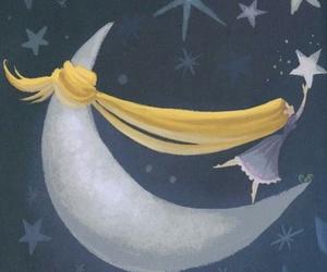stars, girl, and moon image