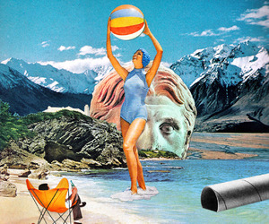 beach, collage art, and sunbathing image