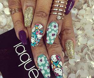 nails, hello kitty, and gold image