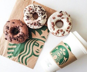starbucks, donuts, and food image