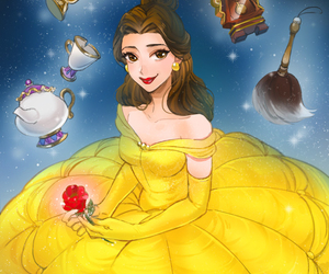 belle, beauty and the beast, and disney image
