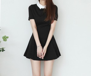 asian fashion, black dress, and kfashion image
