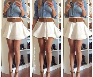 outfit, skirt, and white image