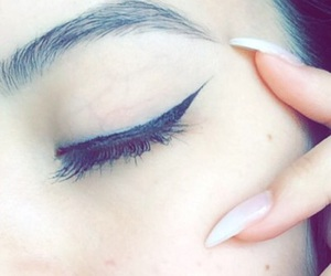 eyeliner, makeup, and nails image