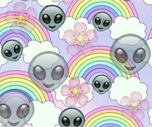 alien, wallpaper, and rainbow image