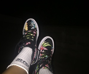 high tops, vans, and floral image