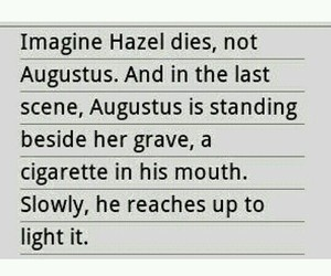 augustus, hazel, and sad image