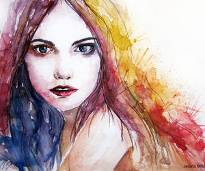 portrait, watercolor, and art image