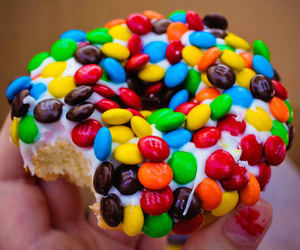 food, donuts, and m&m image