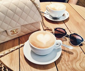 coffee, chanel, and sunglasses image