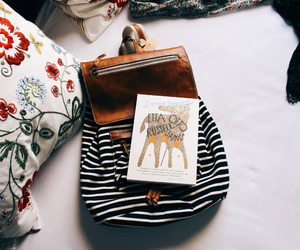 vintage, book, and backpack image