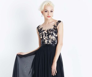 black, dresses, and flowers image