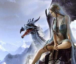 girl fantasy dragon image