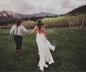 bohemian, hippy, and wedding dress image