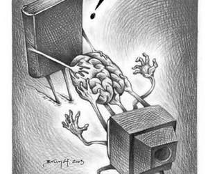book, tv, and brain image