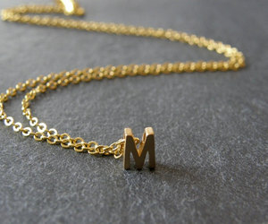 M, m necklace, and necklace image