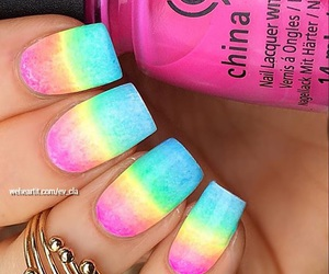 beauty, trend, and rainbow nails image