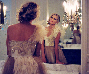 dress, girl, and mirror image