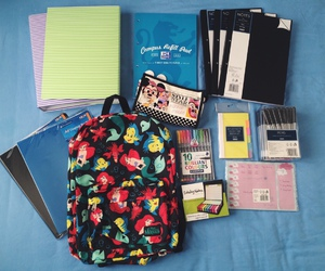 school, bag, and notebook image
