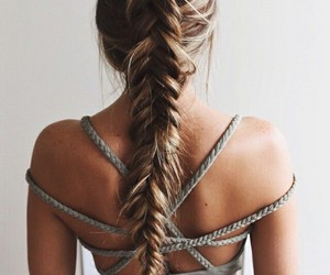 braid, girl, and long hair image