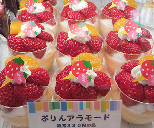 japanese, strawberry, and cake image