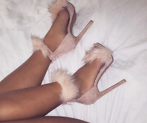 fluffy, heels, and pink image