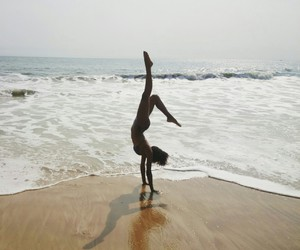 beach, dance, and handstand image