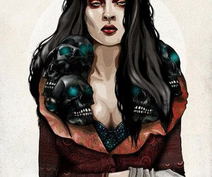 dark, Queen, and scull image