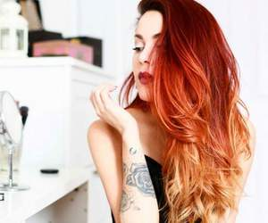 hair, tattoo, and red image