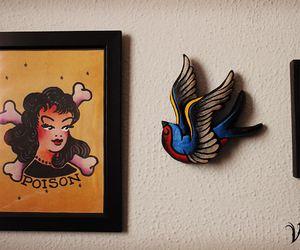 bird tattoo, tattoo old school, and vuduloja image