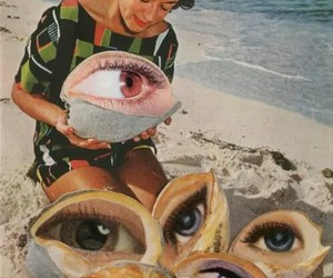 eyes, beach, and woman image