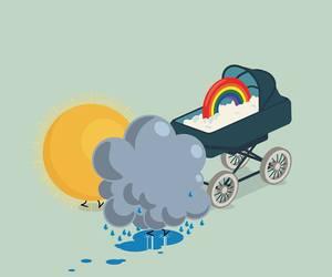 rain, funny, and rainbow image