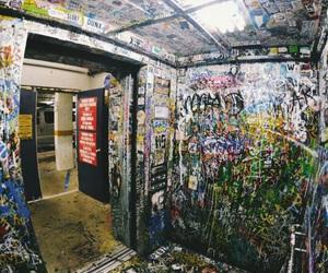 art, elevator, and graffiti image
