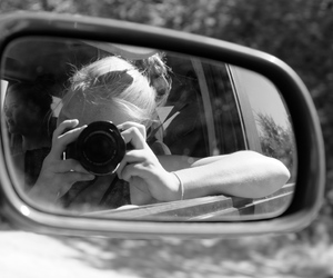 bnw, camera, and girl image