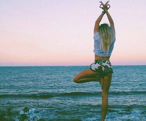 girl, sea, and yoga image
