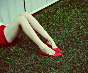 girl, red shoes, and grass image