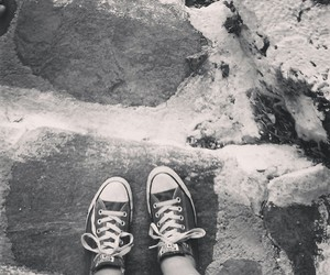 black and white, summer, and converse image