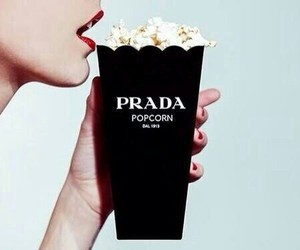 Prada, popcorn, and black image
