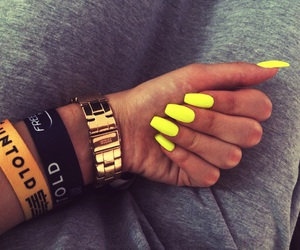 nails, neon, and watch image