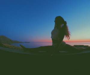 fitness, sunset, and flexibility image
